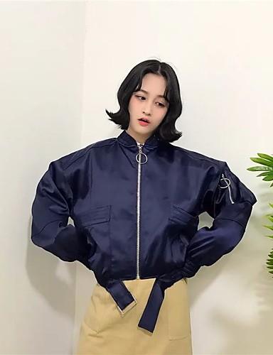 여성 솔리드 라운드 넥 긴 소매 자켓,심플 캐쥬얼/데일리 보통 Others 봄