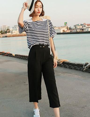 Dámské Šik ven Mikro elastické Kalhoty chinos Kalhoty Široké nohavice High Rise Jednobarevné