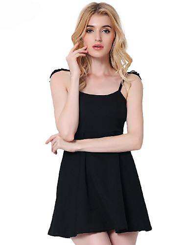 여성 A 라인 리틀블랙 드레스 데이트 파티/칵테일 섹시 솔리드,라운드 넥 무릎 위 민소매 면 폴리에스테르 봄 여름 높은 밑위 약간의 신축성 얇음