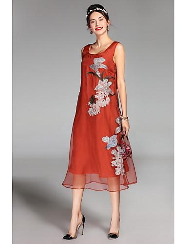여성용 일상 귀여운 루즈핏 미디 드레스,솔리드 자수장식 딥 U 민소매
