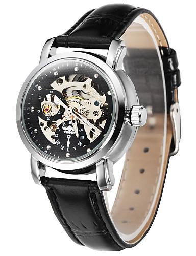 WINNER Women's Skeleton Watch Hollow Engraving Mechanical manual-winding Leather Band Luxury Black Strap Watch