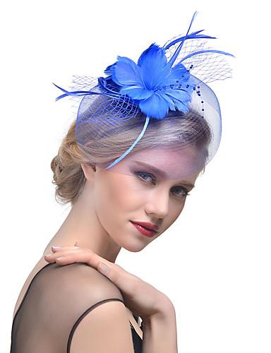 abordables Coiffes Femme-Femme Kentucky Derby Chapeau Couleur unie Maille Perle Plume Soirée