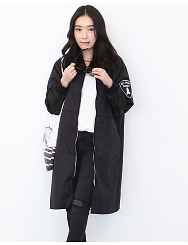여성 솔리드 스탠드 긴 소매 트렌치 코트,단순한 캐쥬얼/데일리 긴 그외 가을
