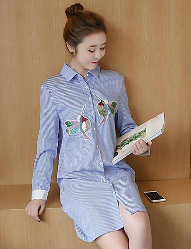 여성 자수장식 셔츠 카라 긴 소매 셔츠,심플 캐쥬얼/데일리 폴리에스테르