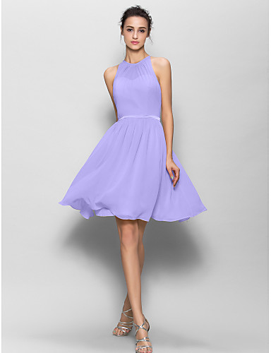 cheap Bridesmaid Dresses-A-Line Jewel Neck Knee Length Georgette Bridesmaid Dress with Sash / Ribbon / Pleats by LAN TING BRIDE®