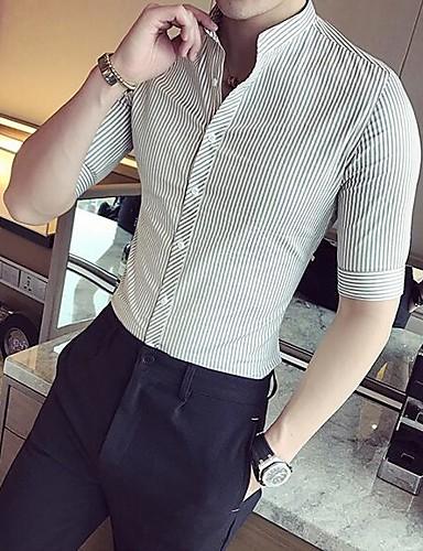 남성 줄무늬 스탠드 셔츠,심플 캐쥬얼/데일리 레이온