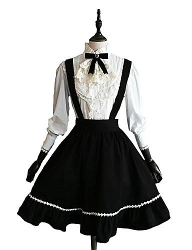 ab5d7d6be0 Classic Lolita Dress Women's Girls' Skirt Blouse / Shirt Cosplay Black Long  Sleeve Knee Length Costumes