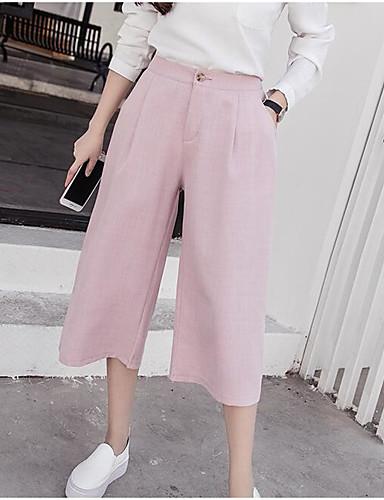 Dámské Jednoduchý Mikro elastické Kalhoty chinos Kalhoty Široké nohavice High Rise Jednobarevné