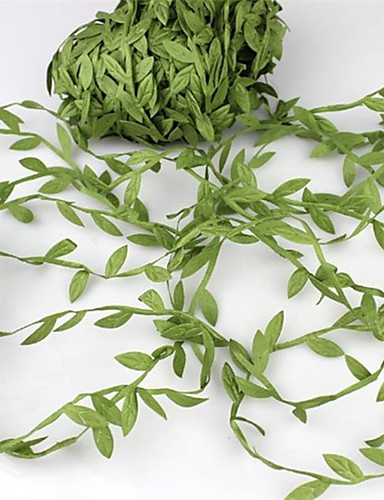cheap Festival-20Meter Silk Leaf-Shaped   Artificial Green Leaves For Wedding Decoration Diy Wreath Gift Scrapbooking Craft Fake Flower