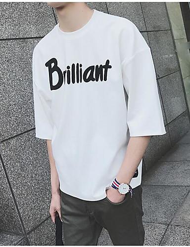 남성 솔리드 문자 라운드 넥 ½ 길이 소매 티셔츠,심플 캐쥬얼/데일리 면 여름 불투명 얇음