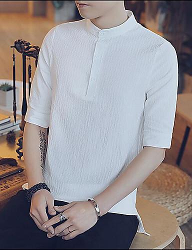 남성 문자 크루넥 짧은 소매 셔츠,심플 캐쥬얼/데일리 면 여름 얇음