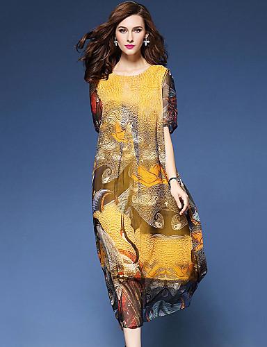 d2b7f6d80e5e Γυναικεία Εξόδου   Παραλία Κομψό στυλ street   Κινεζικό στυλ Μετάξι Φαρδιά  Φόρεμα - Στάμπα Μίντι