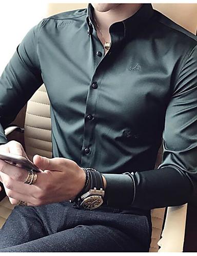 남성 솔리드 셔츠 카라 긴 소매 셔츠,심플 캐쥬얼/데일리 면