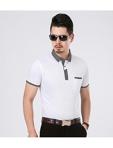 남성 솔리드 컬러 블럭 스탠드 짧은 소매 티셔츠,심플 캐쥬얼/데일리 면