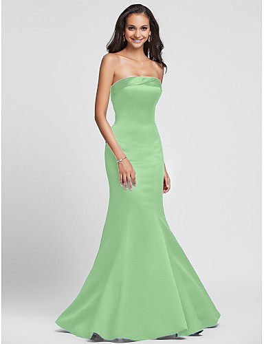 e0e7dc89fb9d0 Mermaid / Trumpet Strapless Floor Length Satin Bridesmaid Dress with Side  Draping by LAN TING BRIDE®