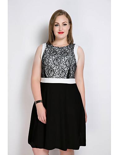 billige Kjoler-Dame Store størrelser Arbeid Vintage / Gatemote Bomull A-linje / Skjede / Blonder Kjole - Fargeblokk, Blonde Midi