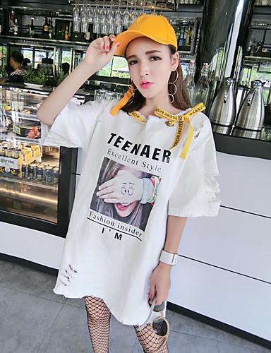 여성 프린트 라운드 넥 짧은 소매 티셔츠,귀여운 비치 면