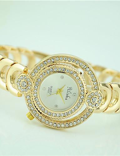 여성용 손목 시계 패션 시계 석영 크리스탈 합금 밴드 캐쥬얼 골드