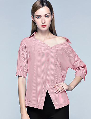 여성 줄무늬 오프 숄더 ¾ 소매 셔츠,스트리트 쉬크 정교한 디테일 캐쥬얼/데일리 휴일 스판덱스 여름 얇음