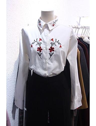 여성 자수장식 셔츠 카라 긴 소매 셔츠,심플 캐쥬얼/데일리 면