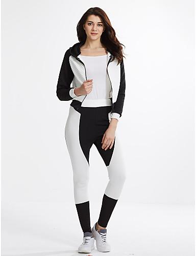 billige Dametopper-Dame Aktiv T-skjorte Bukse Fargeblokk Skjortekrage / Vår / Høst / Sporty stil