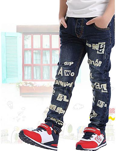 Para Meninos Jeans Diário Para Noite Escola Primavera Verão Outono Algodão Azul