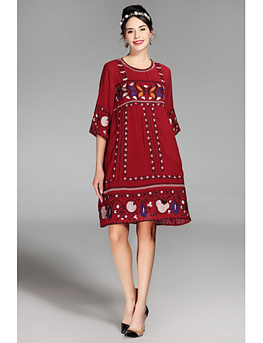 여성 루즈핏 드레스 캐쥬얼/데일리 귀여운 자수장식,라운드 넥 무릎길이 ½ 길이 소매 나일론 봄 여름 중간 밑위 약간의 신축성 얇음