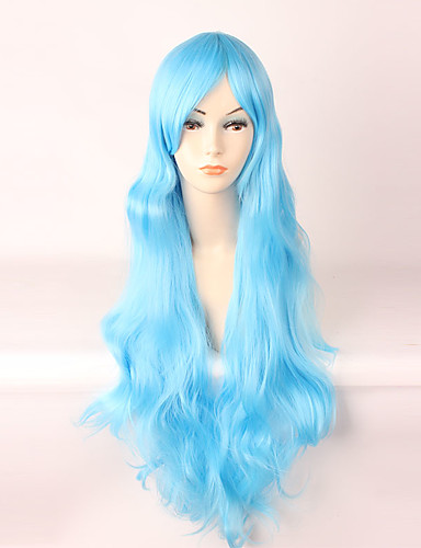 abordables Pelucas Cosplay-Cosplay Cosplay Mujer 34 pulgada Fibra resistente al calor Azul Animé Pelucas de Cosplay