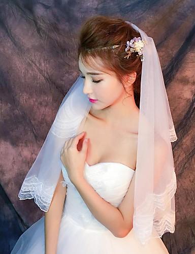 Uma Camada Borda com aplicação de Renda Véus de Noiva Véu Cotovelo Com Apliques Renda / Tule / Clássico