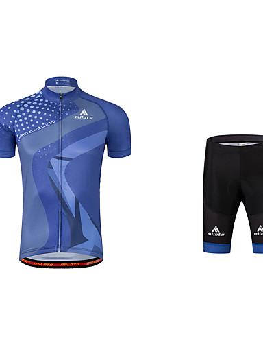 cheap Cycling Clothing-Men's Cycling Jersey with Shorts - Navy Blue Bike Clothing Suit 3D Pad Reflective Strips Sports Polyester Coolmax® Mountain Bike MTB Road Bike Cycling Clothing Apparel / Stretchy