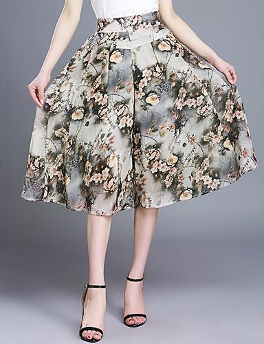 Mulheres Tamanhos Grandes Perna larga / Chinos Calças Chifon / Estampado Verde