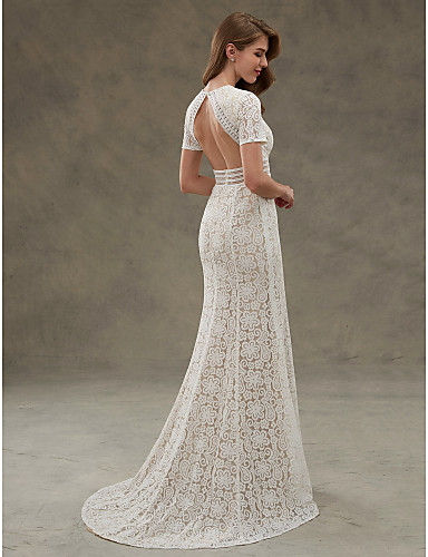 b8effeba412 Sheath   Column Jewel Neck Floor Length Sheer Lace Made-To-Measure Wedding  Dresses