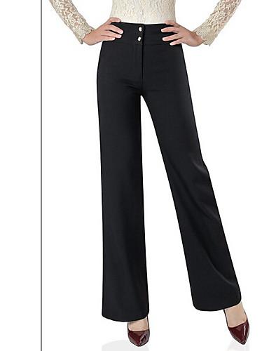 여성 단순한 스트리트 쉬크 약간의 신축성 치노바지 바지,스트레이트 와이드 레그 높은 밑위,퓨어 컬러 솔리드