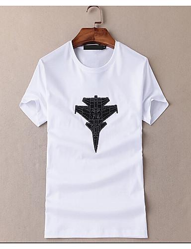 남성 솔리드 라운드 넥 짧은 소매 티셔츠,심플 캐쥬얼/데일리 면 여름 중간