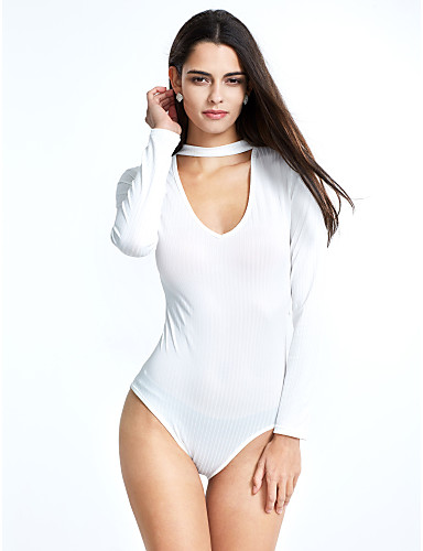 Dames Effen Dagelijks Strand Sexy Babypakje,Lange Mouw V-hals Winter Herfst Katoen Rayon