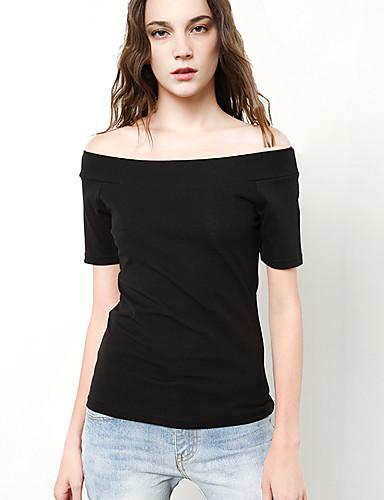 Mulheres Camiseta Sólido Algodão Poliéster Decote Canoa