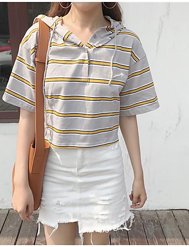 여성 줄무늬 비대칭 짧은 소매 티셔츠,심플 캐쥬얼/데일리 면 봄 여름 불투명