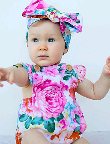 Baby Mädchen Einzelteil Blumen Modisch Baumwolle Sommer Ärmellos Blumig Rosa