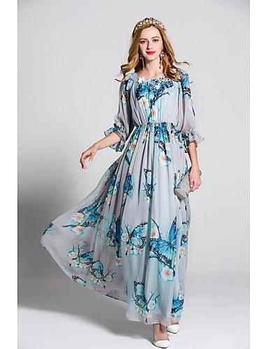 Damen Swing Kleid-Ausgehen Lässig/Alltäglich Party/Cocktail Niedlich Druck Rundhalsausschnitt Maxi ¾-Arm Polyester Frühling Sommer