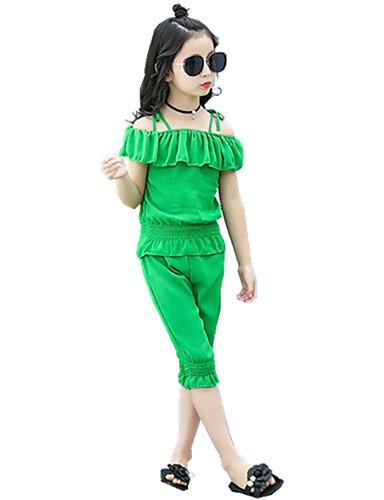 Mädchen Sets einfarbig Polyester Sommer Ganzjährig Frühling Kurzarm Kleidungs Set