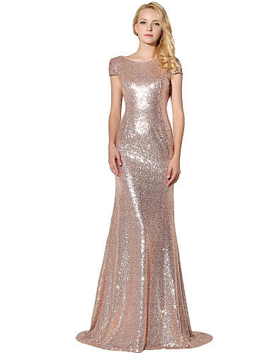 6708500c66a Mermaid   Trumpet Jewel Neck Floor Length Sequined Sparkle   Shine Formal  Evening Dress with Sequin