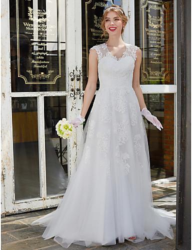 Linha A Decote V Cauda Escova Renda / Tule Vestidos de noiva personalizados com Renda de LAN TING BRIDE®