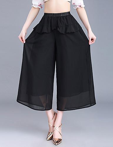 Mulheres Fashion Tamanhos Grandes Cintura Alta Perna larga Chinos Calças - Sólido Pregueado