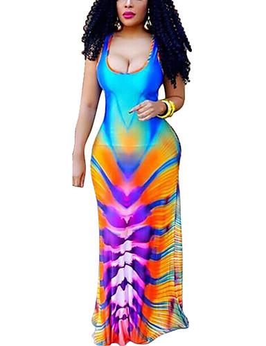 Mulheres Tamanhos Grandes Casual Moda de Rua Tubinho Vestido - Frente Única Vazado, Estampa Colorida Decote U Cintura Alta Longo