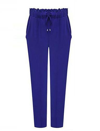 Women's Solid Blue / Black Harem Pants , Casual / Plus Sizes