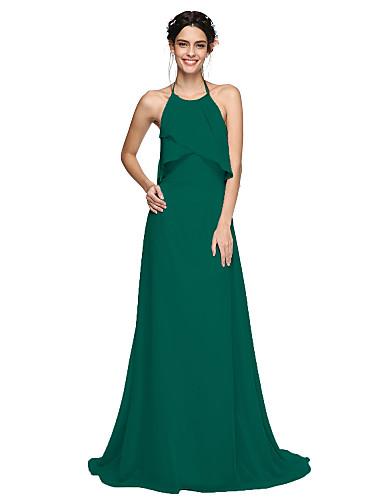 abordables Vestidos de Dama de Honor-Corte en A Halter Larga Raso Vestido de Dama de Honor con Plisado por LAN TING BRIDE® / Espalda Bonita