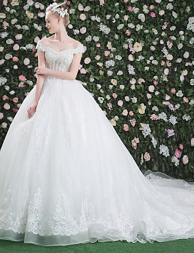 De Baile Ombro a Ombro Cauda Catedral Lace Over Tulle Vestidos de noiva personalizados com Cristais Miçangas Lantejoulas Estampa de LAN