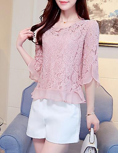 abordables Camisas y Camisetas para Mujer-Mujer Boho Noche / Playa Algodón Blusa Un Color Blanco L / Seda / Verano / Otoño / Encaje