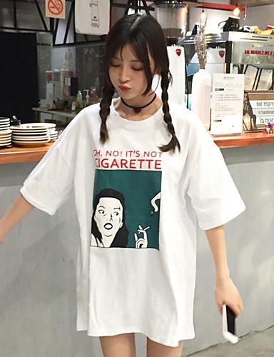 여성 프린트 라운드 넥 짧은 소매 티셔츠,심플 캐쥬얼/데일리 면 봄 여름 얇음