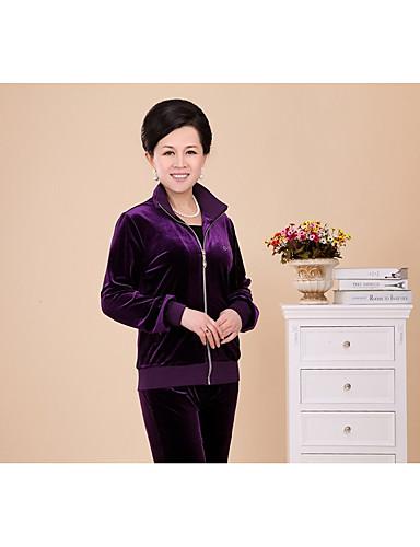 여성 솔리드 셔츠 카라 긴 소매 티셔츠 나와 정장,단순한 스포츠 쉬폰 strenchy